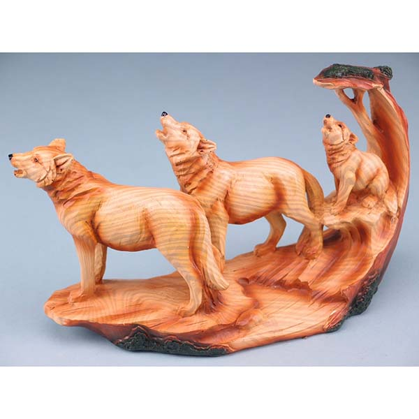 Wood Effect Wolf Family With Tree