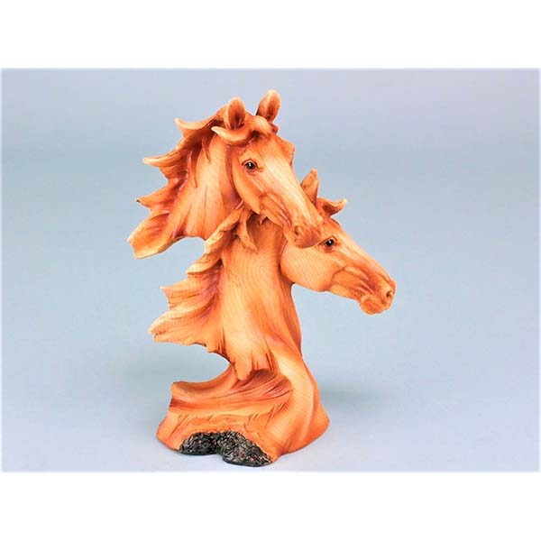 Wood Effect Double Horse Head