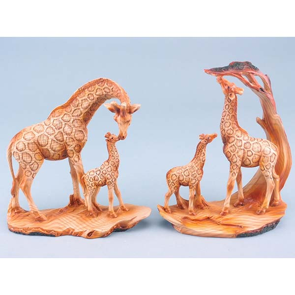 Wood Effect Giraffe Pair